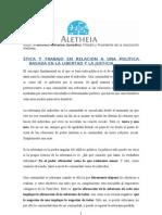 ÉTICA Y TRABAJO  POLÍTICA BASADA EN LA LIBERTAD Y LA JUSTICIA