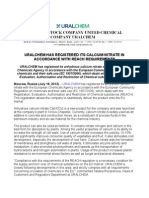 URALCHEM has registered its calcium nitrate in accordance with REACH requirements