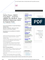 Latest News _ NEET Cancelled – GUJCET eligible for Medical -Para Medical Admission 2013 in Gujarat State