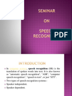 Seminar on Speech Recognition