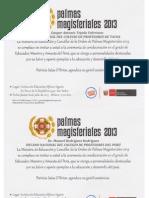 INVITACIÓN A LA CEREMONIA DE CONDECORACIÓN DE PALMAS MAGISTERIALES 2013.