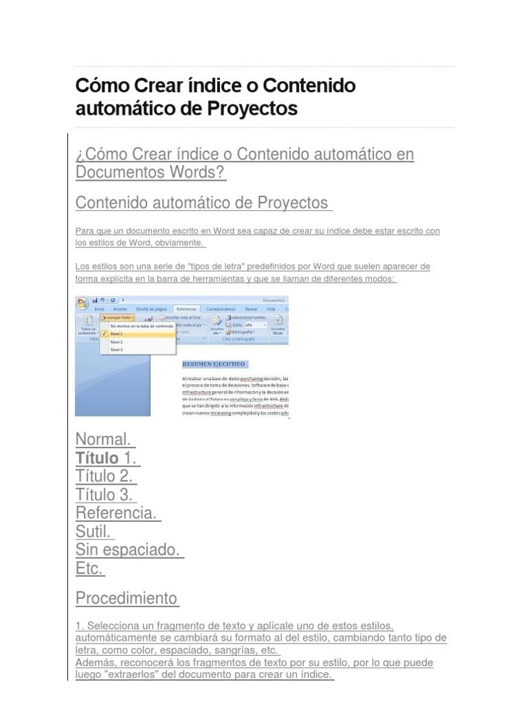 Cómo Crear índice o Contenido automático de Proyectos