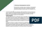 Caracteristicas y Tipos Del Procesador de Textos