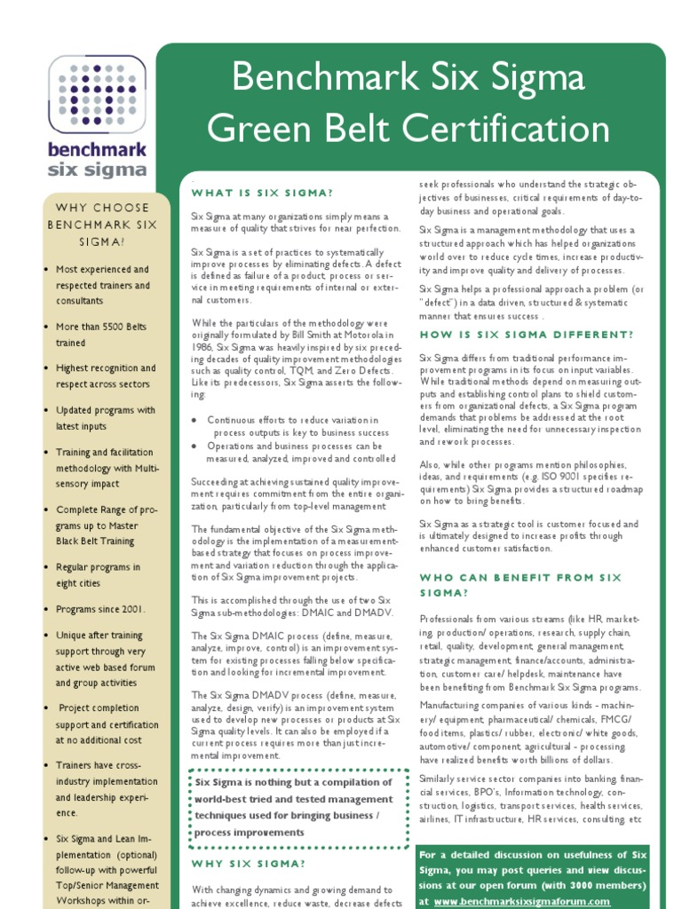 Benchmark Six Sigma Green Belt Training Brochure Six Sigma