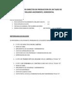 Calculo de Costos Directos de Produccion de Un Tajeo de Corte y Relleno Ascendente, Horizontal