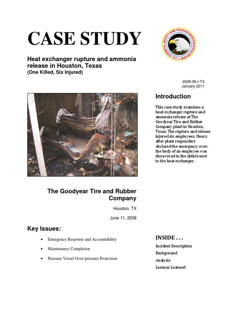 goodyear heat exchanger rupture case study