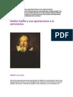 Galileo Galilei y sus aportaciones a la astronomía