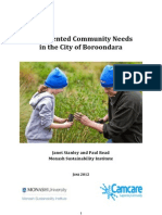Documented Community Needs in the City of Boroondara