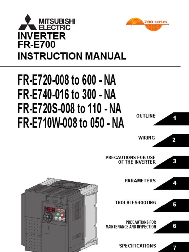 mitsubishi e700 variable frequency drive vfd instruction manual rh scribd com mitsubishi electric mr slim inverter manual msz-ge18na mitsubishi electric g inverter manual msz-ge25va