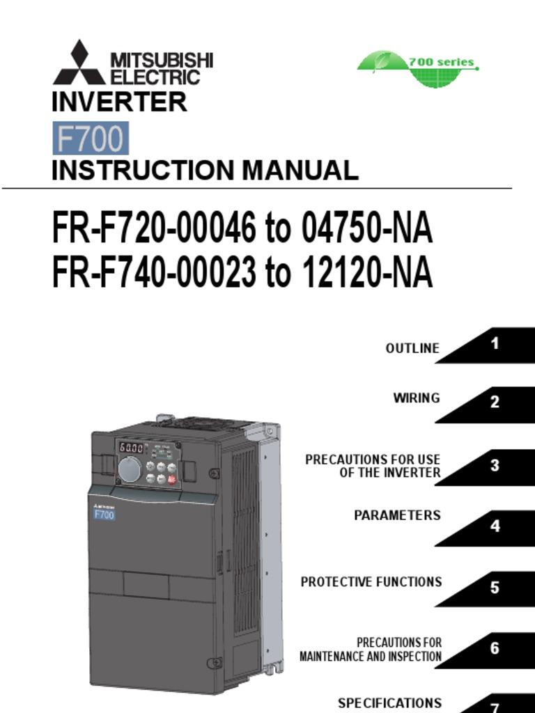 mitsubishi f700 vfd instruction manual applied power inverter rh scribd com mitsubishi f700 inverter manual mitsubishi f700 inverter manual