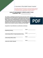 Quality Assurance Surveillance Plan - QASP - Sample Template