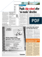 TheSun 2009-05-15 Page08 Pupils Skip School After No Masks Directive