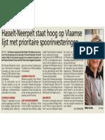 HBVL 19/07/'13 - Hasselt-Neerpelt hoog op Vlaamse lijst spoorinvesteringen