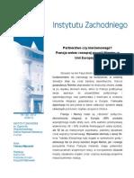 """Tomasz Młynarski, """"Partnerstwo czy nierównowaga? Francja wobec rosnącej pozycji Niemiec w Unii Europejskiej"""""""