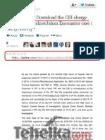 Fake Tehelka Charge of SheetTerrorist Ishrat Jahan Case