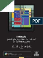 Patología y Gestión de la Calidad en la Construcción