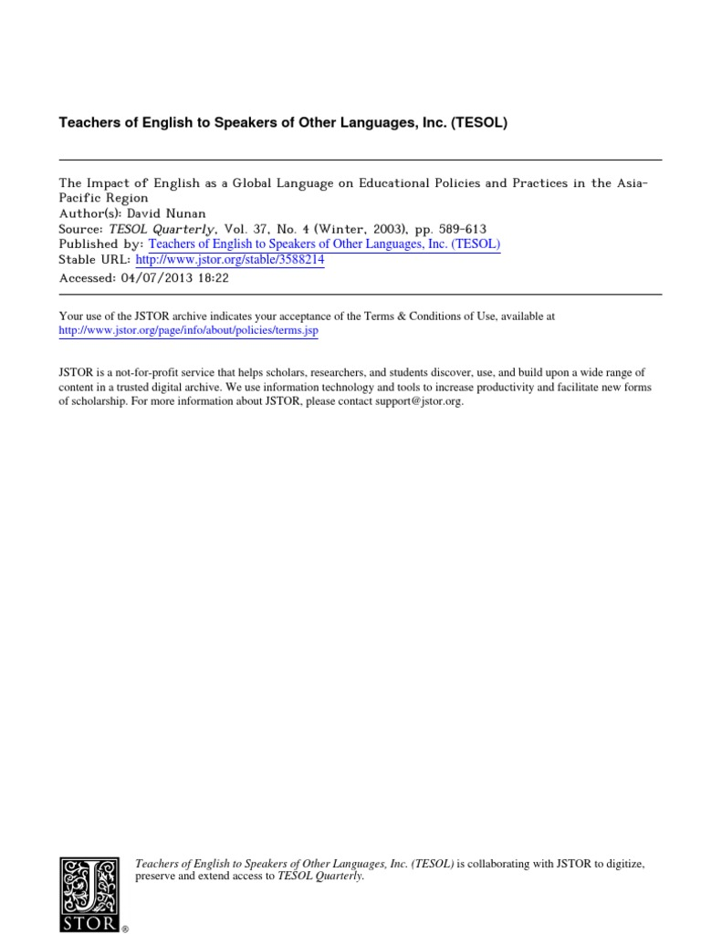 D nunan 2003 the impact of english as a global language on d nunan 2003 the impact of english as a global language on educational policies and practices in the asia pacific regionpdf english as a second or fandeluxe Image collections