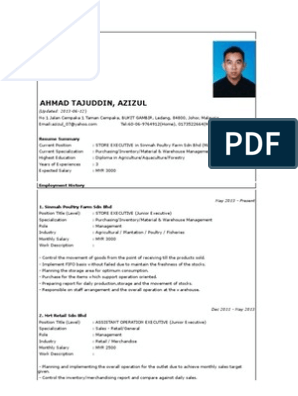 Contoh Resume Inventory Retail