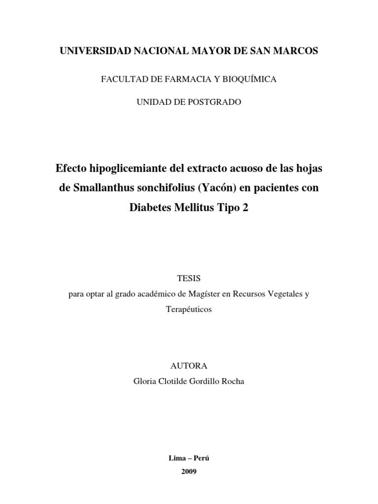 Tesis Mg Recursos Vegetales Yacon Como HIpeglicemiante