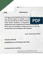 Comunicado de Congreso de la República sobre declinación de Eguiguren al TC