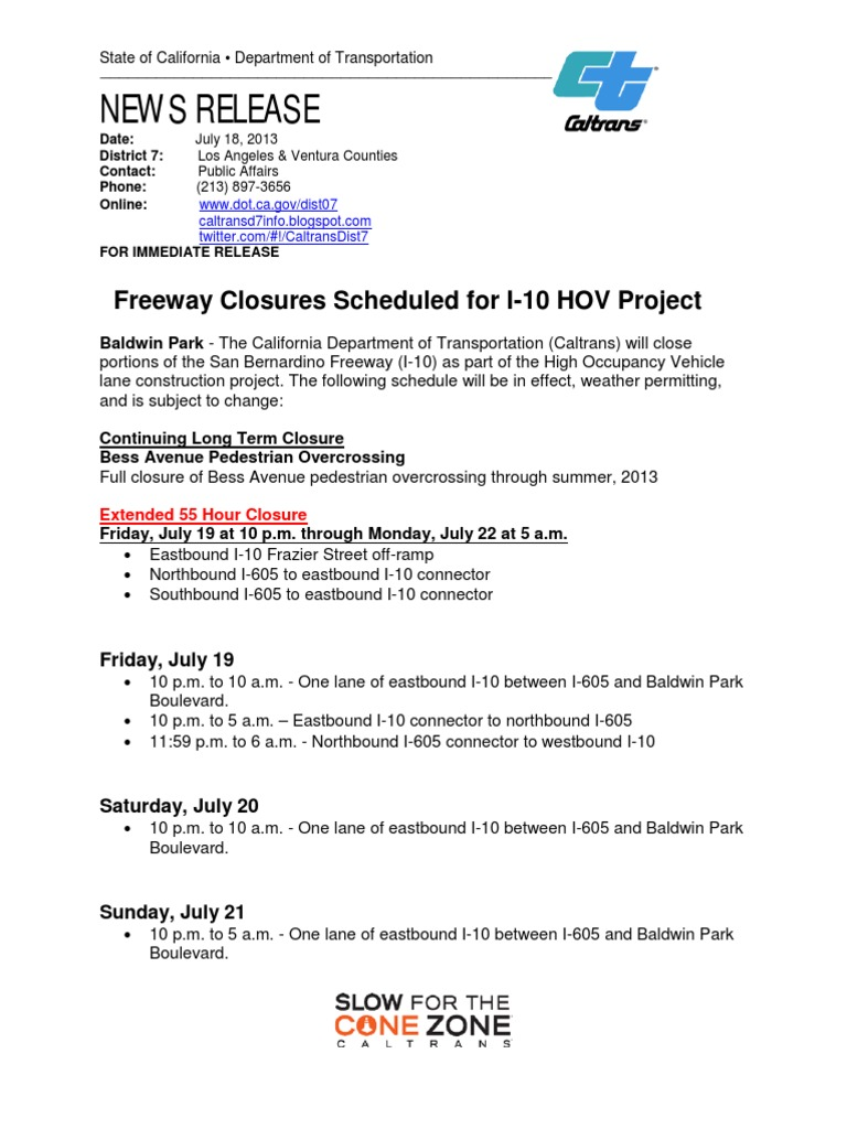 Freeway Closures Scheduled for I-10 HOV Project | Transport