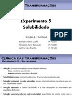 Seminário exp. 5 - Solubilidade