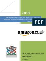 Influencing factors for consumer behaviour for purchasing online Amazon.co.uk