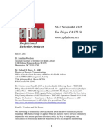 Association for Professional Behavior Analysts Letter to Tricare July 2013