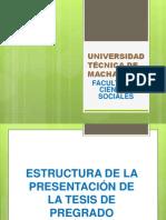 Estructura de la Presentación de la Tesis de Pregrado - Universidad Técnica de Machala