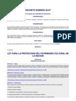 DECRETO NUMERO 26-97, LEY DE PROTECCIÃ-N AL PATRIMONIO CULTUR