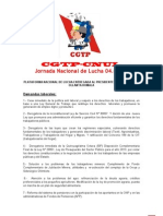 Plataforma CNUL - CGTP de 04 de Julio Presentado a Palacio