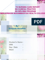 Guideline to Nursing Care Report