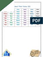 Jadwal Piket Kelas III