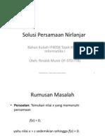 Solusi Persamaan Nirlanjar (Bag 1)