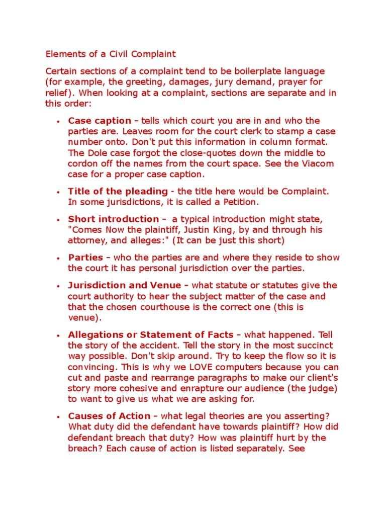 Elements of a civil complaint pleading complaint altavistaventures Gallery