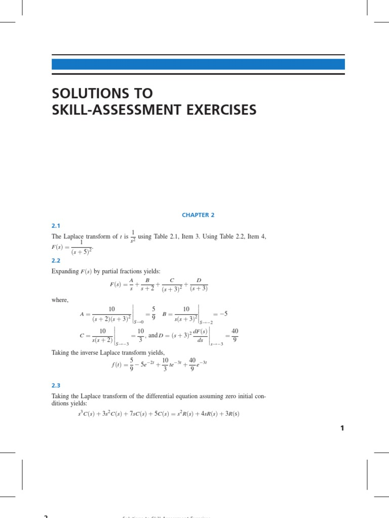 Solution of Skill Assesment Exercise of Control System Engineering by  Norman s Nise | Applied Mathematics | Control Theory