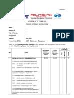 Course Entrance Survey Jj616 Maintenance Management