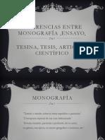 DIAPOS Diferencias entre monografía ,ensayo,