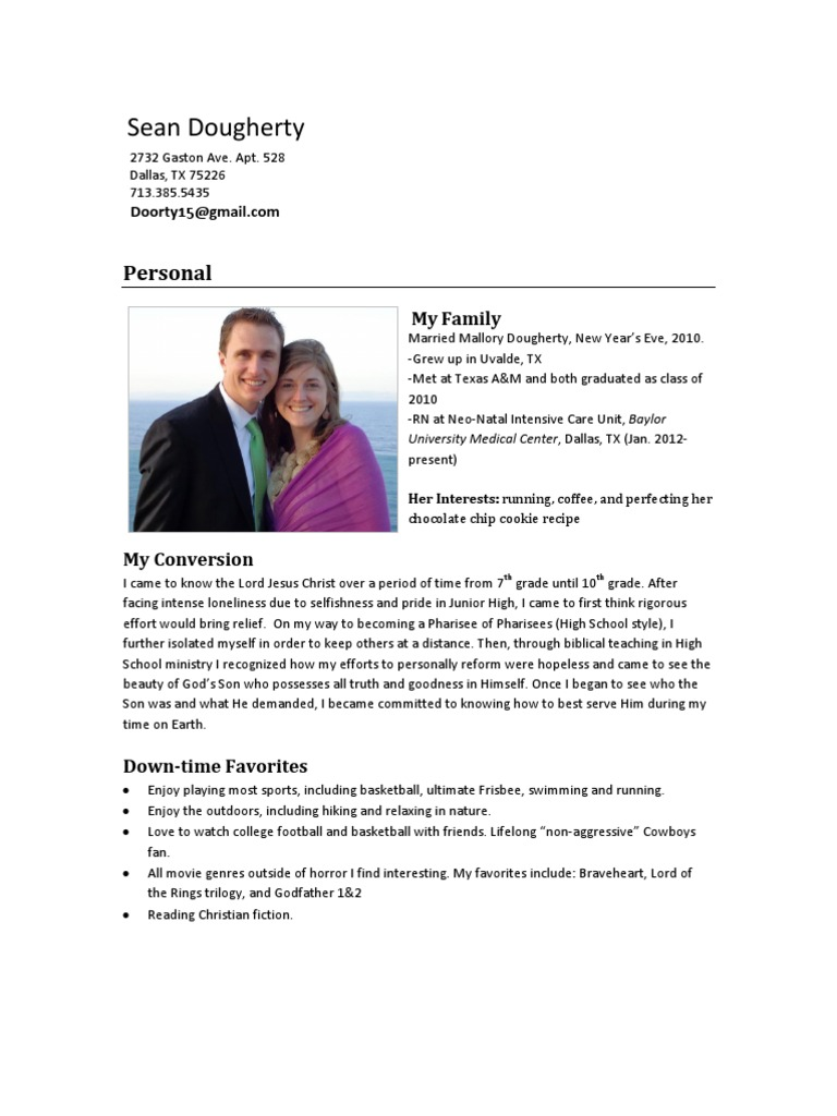 sean dougherty ministry resume
