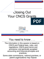 SW 2013 Closing Out Your CNCS Grant
