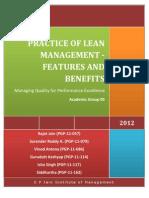 Lean Manufacturing principles