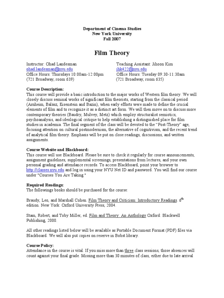 Film Studies Syllabus Nyu Film Theory Philosophical Science