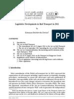 Legislative Developments in Rail Transport in 2011 in Poland