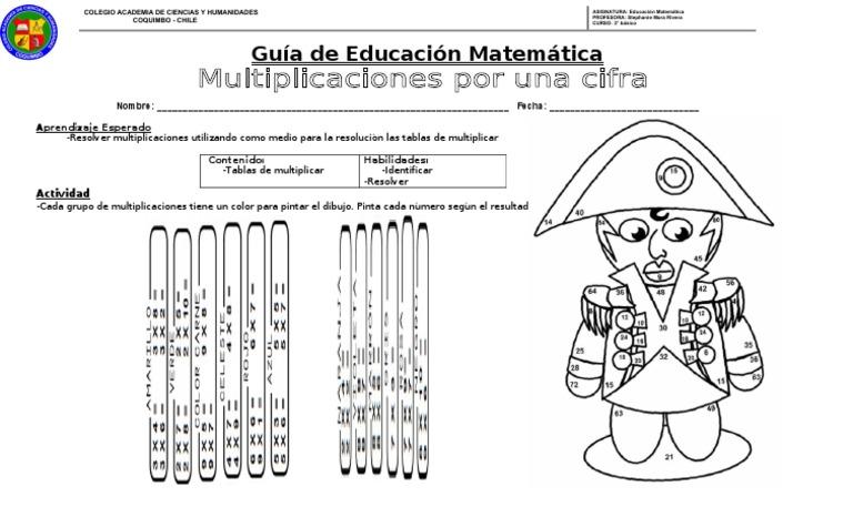 Guia De Trabajo Multiplicaciones Por Una Cifra I