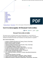 Govt to Derecognise 44 Deemed Universities 2012-2013