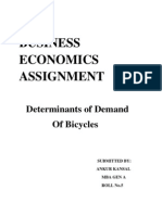 Determinants of Demand of bicycles