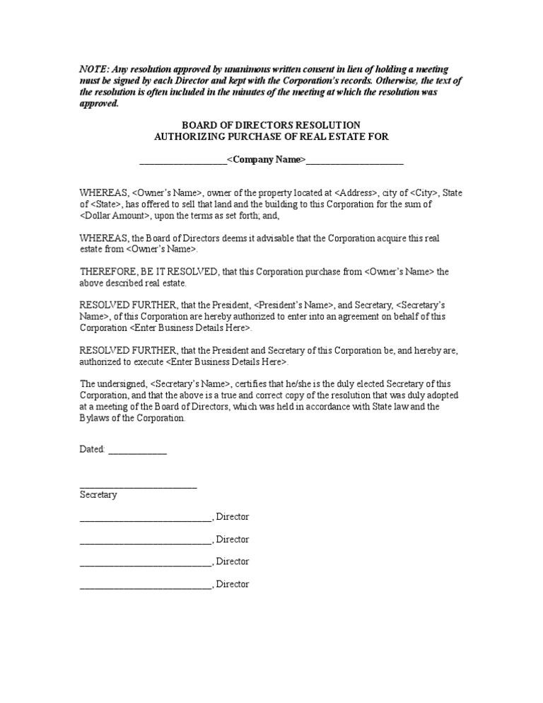 Resolution authorizing purchase of real estate yadclub Images