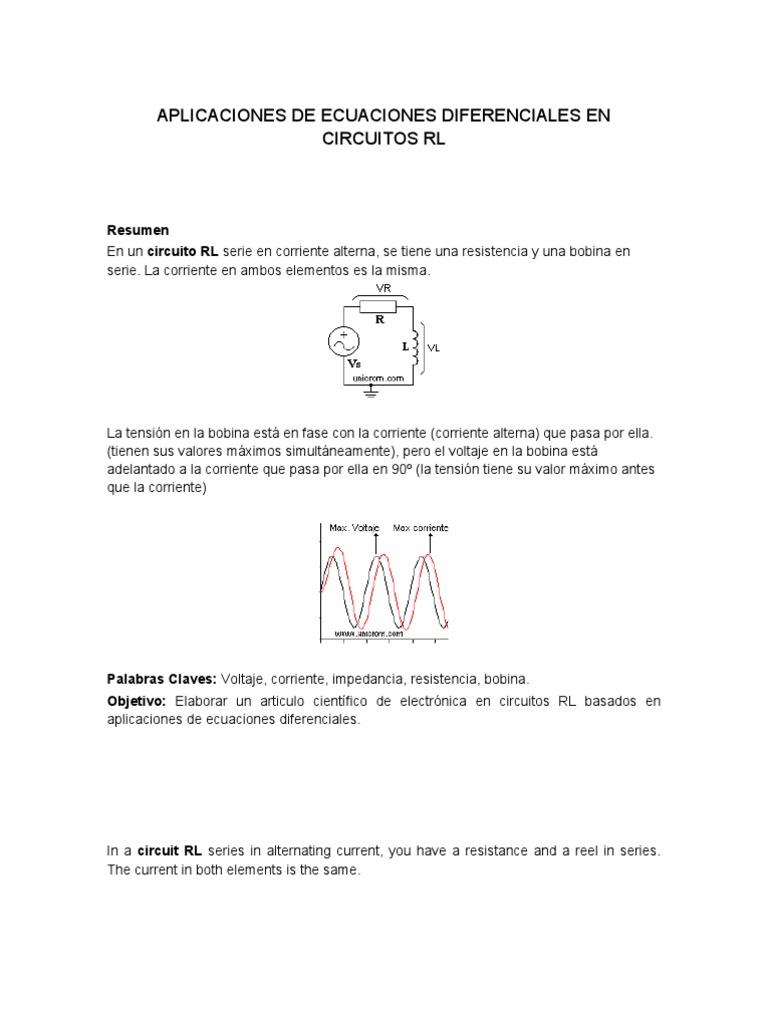Circuito Rl : Aplicaciones de ecuaciones diferenciales en circuitos rl doc