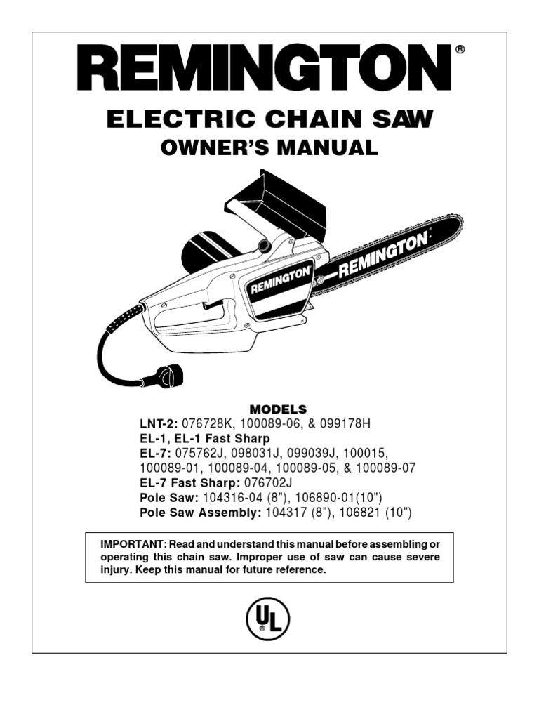 remington chainsaw model 100015 manual screw manufactured goods rh scribd com remington chainsaw manuals electric ld3616aws remington chainsaw manual