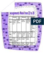 Assignments Week 22 to 26